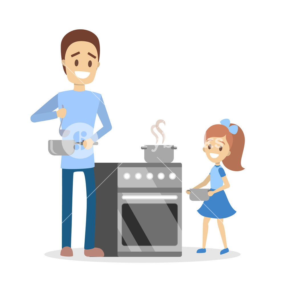 Son daughter cooking baking bbqing cliparts jpg library stock Father and daughter cooking dinner or lunch at home Royalty ... jpg library stock