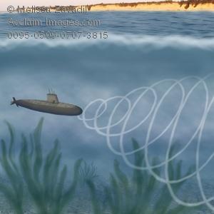 Sonar clipart clip art download Digital Art of a Submarine Using Sonar For Location clip art download