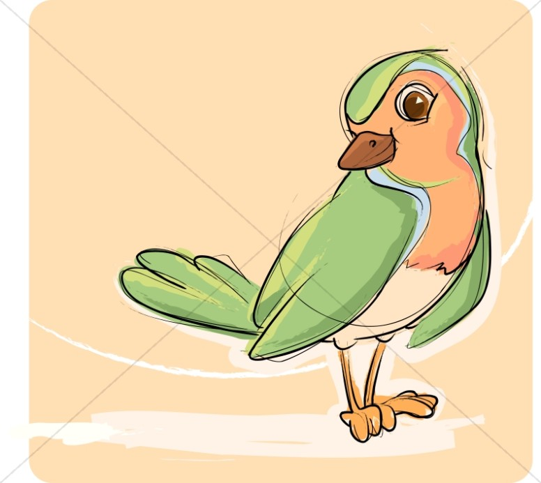 Song bird clipart clip art black and white stock Green and Orange Songbird | Wildlife Clipart clip art black and white stock