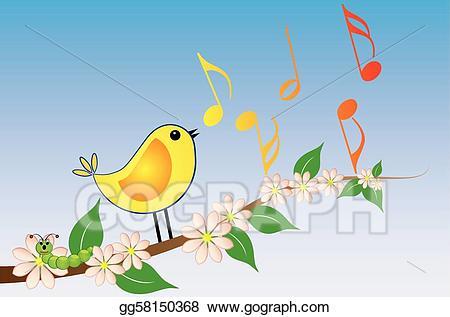Songbird clipart jpg library Vector Stock - Yellow songbird. Clipart Illustration ... jpg library