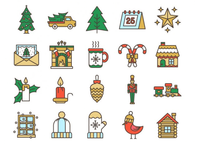 Sophisticated christmas clipart clip art freeuse download Winter- And Holiday-Inspired Icon Sets [Christmas Freebies ... clip art freeuse download