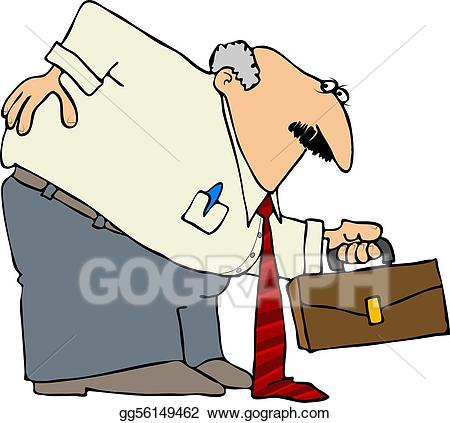 Sore back clipart png freeuse Drawing - Businessman with a bad back. Clipart Drawing ... png freeuse