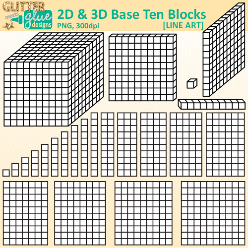Sorting number block clipart banner library download Base Ten Blocks and Cubes Clip Art Digi Stamps | Teacher Clip Art ... banner library download