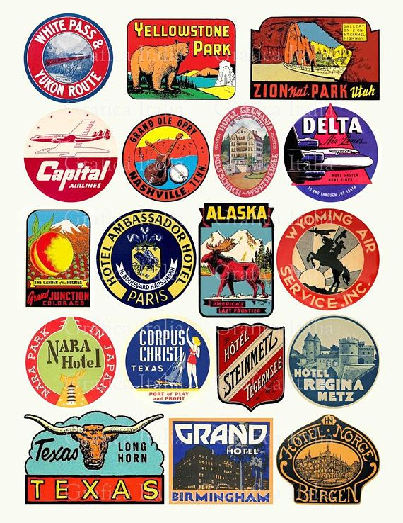 Soup labels clipart graphic royalty free library 18 Travel Luggage Stickers - Retro Digital Printable Collage ... graphic royalty free library