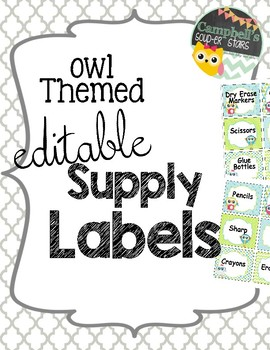 Soup labels clipart free stock Owl Theme {School Supply Labels} free stock