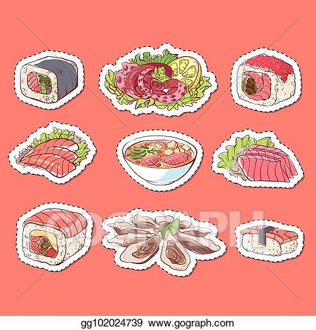 Soup labels clipart graphic transparent Vector Art - Japanese cuisine dishes isolated labels ... graphic transparent