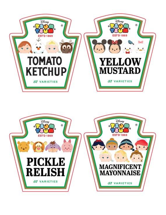 Soup labels clipart clip art royalty free stock Tsum Tsum Ketchup, Mayo, Relish and Mustard Bottle Labels ... clip art royalty free stock
