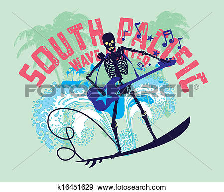 South pacific clipart picture free Clip Art of south pacific rock music skeleton surfer vector art ... picture free