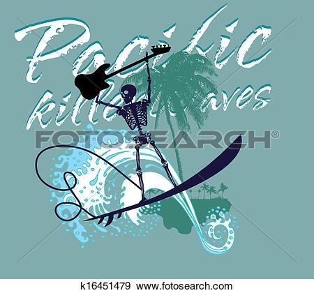 South pacific clipart graphic transparent Clip Art of south pacific rock music skeleton surfer vector art ... graphic transparent