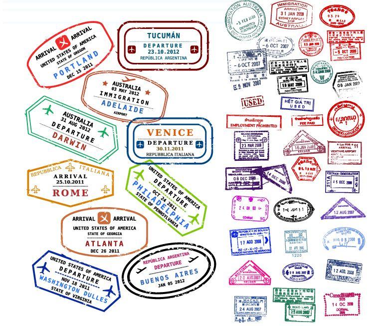 Southern asia passport stamps clipart stock Passport Stamps - free vector graphics | MFW-ECC | Passport ... stock