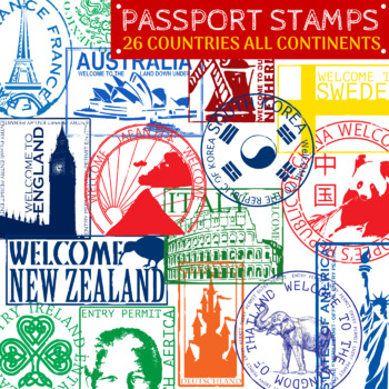 Southern asia passport stamps clipart jpg freeuse stock Passport Stamps - Countries Around the World Clip Art - 26 Clipart jpg freeuse stock