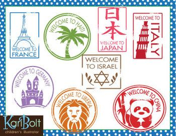 Southern asia passport stamps clipart png free library Passport Stamps Clip Art | things for preschool- travel ... png free library