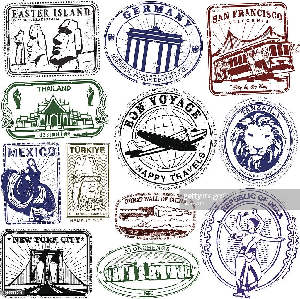 Southern asia passport stamps clipart clip free download Series of stylized retro/vintage passport style stamps of ... clip free download