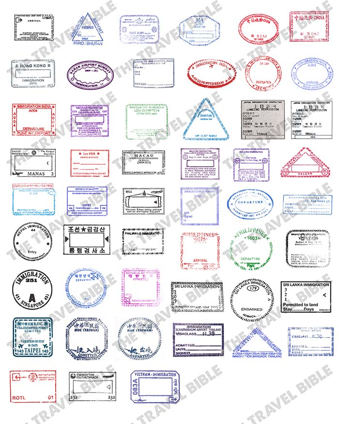 Southern asia passport stamps clipart image transparent library World Passport Stamps Clipart PNG Digital Download image transparent library