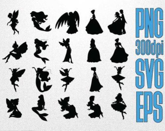 Southern belle silhouette clipart vector black and white download Princess silhouette – Etsy vector black and white download