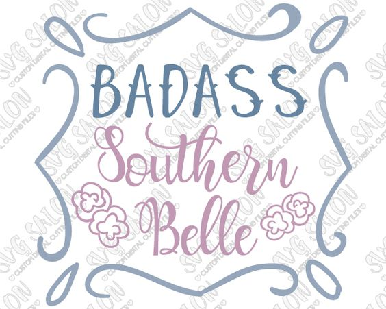 Southern belle silhouette clipart vector black and white stock Badass Southern Belle Custom DIY Vinyl Mug Decal Cutting File ... vector black and white stock