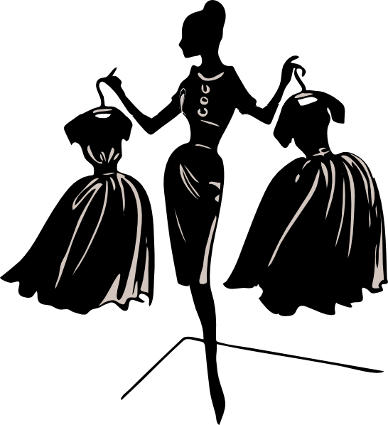 Southern belle silhouette clipart graphic black and white dress on a hanger Clip Art | Use these free images for your websites ... graphic black and white