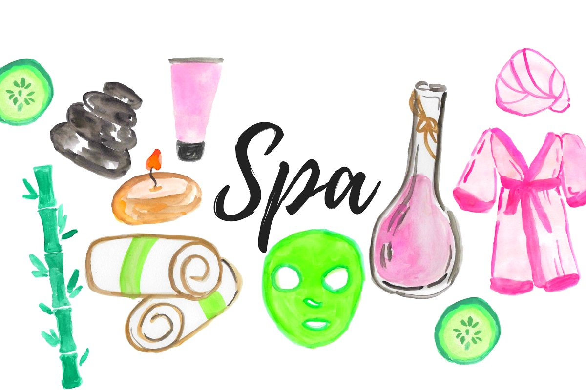 Spa beauty clipart image free Watercolor Spa Beauty Clipart image free