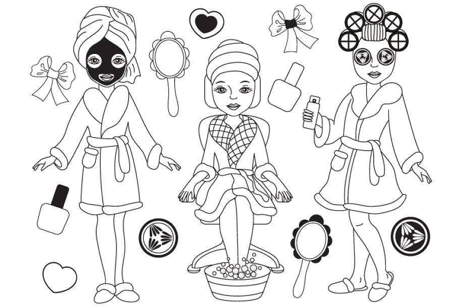 Spa clipart black and white jpg freeuse stock Vector Black and White Spa Girls Set jpg freeuse stock