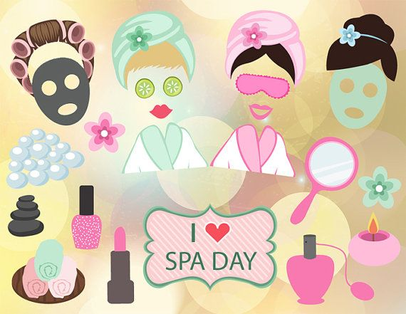 Spa clipart photo props banner download Instant Download Spa Party Photo Booth Props, Digital Spa ... banner download
