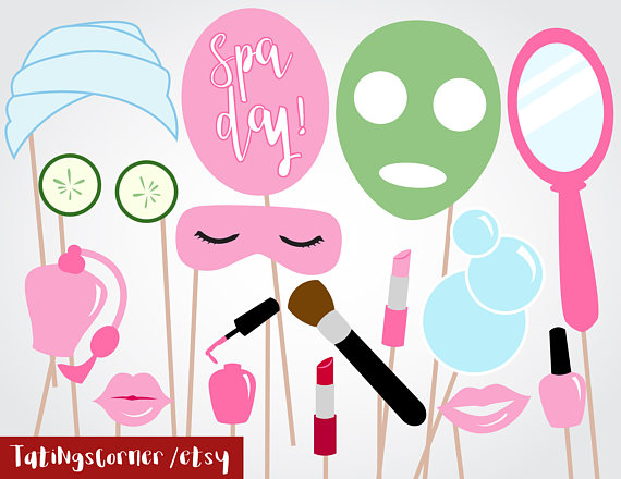 Spa clipart photo props banner freeuse download Download spa party photo booth props printable clipart Day ... banner freeuse download