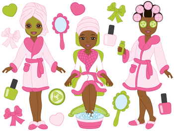 Spa clipart vector picture royalty free library Spa Girls Clipart - Digital Vector, Spa Girls, Makeup, Spa Girls Clip Art picture royalty free library