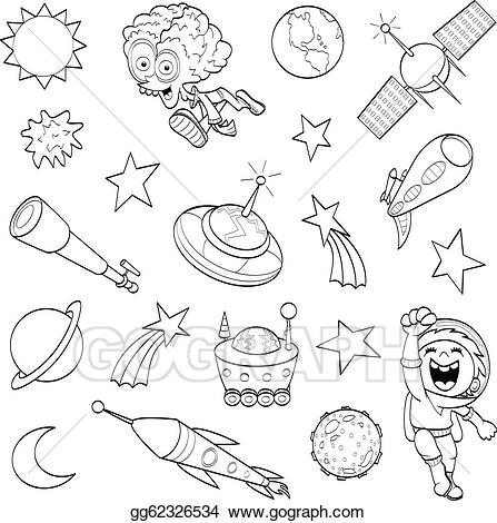 Space drawing clipart jpg black and white stock Vector Art - Cartoon outer space set. Clipart Drawing ... jpg black and white stock