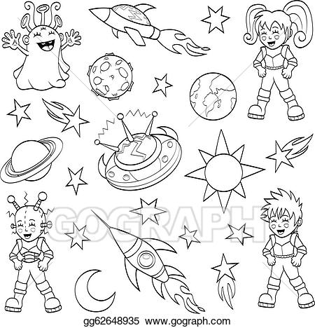 Space drawing clipart jpg Vector Art - Cartoon outer space set. Clipart Drawing ... jpg