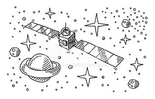 Space drawing clipart png library download Satellite Space Stars Planet Drawing stock vectors - Clipart.me png library download