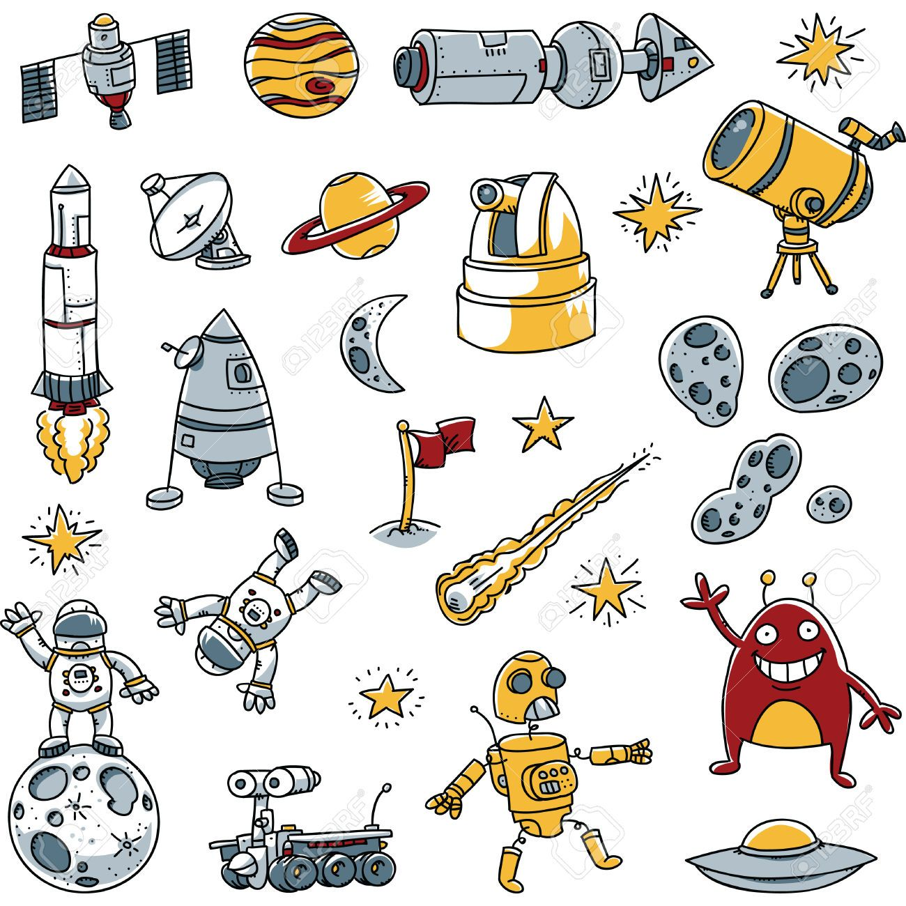 Space drawing clipart clip art black and white library Stock Vector | c o n t e n t t a l k in 2019 | Space ... clip art black and white library