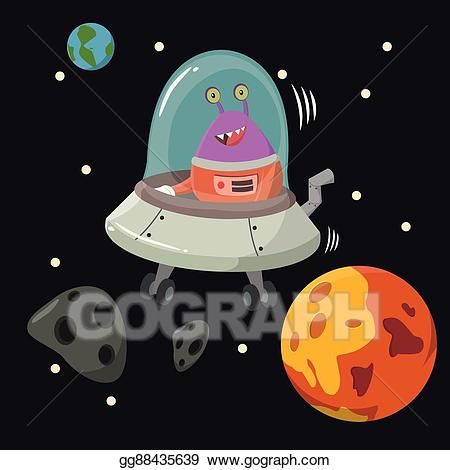 Space mining clipart image library EPS Illustration - Alien inside ufo mining asteroid. Vector ... image library