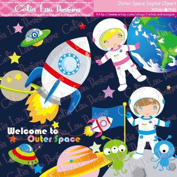 Space things clipart graphic stock Outer Space Clipart, Astronauts clipart, UFO alien Astronaut ... graphic stock