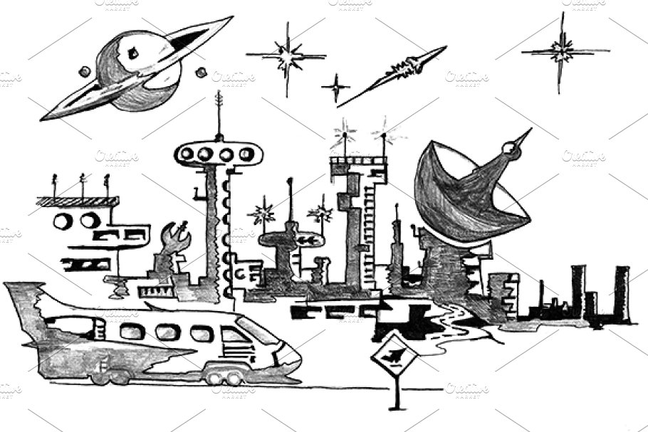 Spaceport clipart banner royalty free library Space port, Sketch banner royalty free library