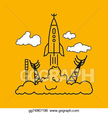 Spaceport clipart picture Vector Art - Start of the rocket in clouds, vector ... picture