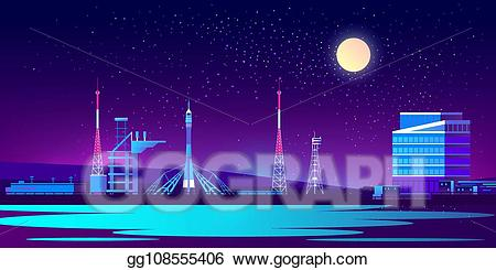 Spaceport clipart picture royalty free stock Vector Art - Vector spaceport, base at night with rocket ... picture royalty free stock