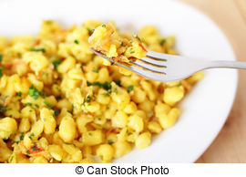 Spaetzle clipart vector transparent library Bavarian spaetzle noodles with cheese stock photo - Search ... vector transparent library