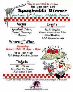 Spaghetti dinner fundraiser clipart for facebook