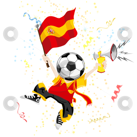 Spain soccer clipart svg royalty free stock Spain Soccer Fan with Ball Head. stock vector svg royalty free stock
