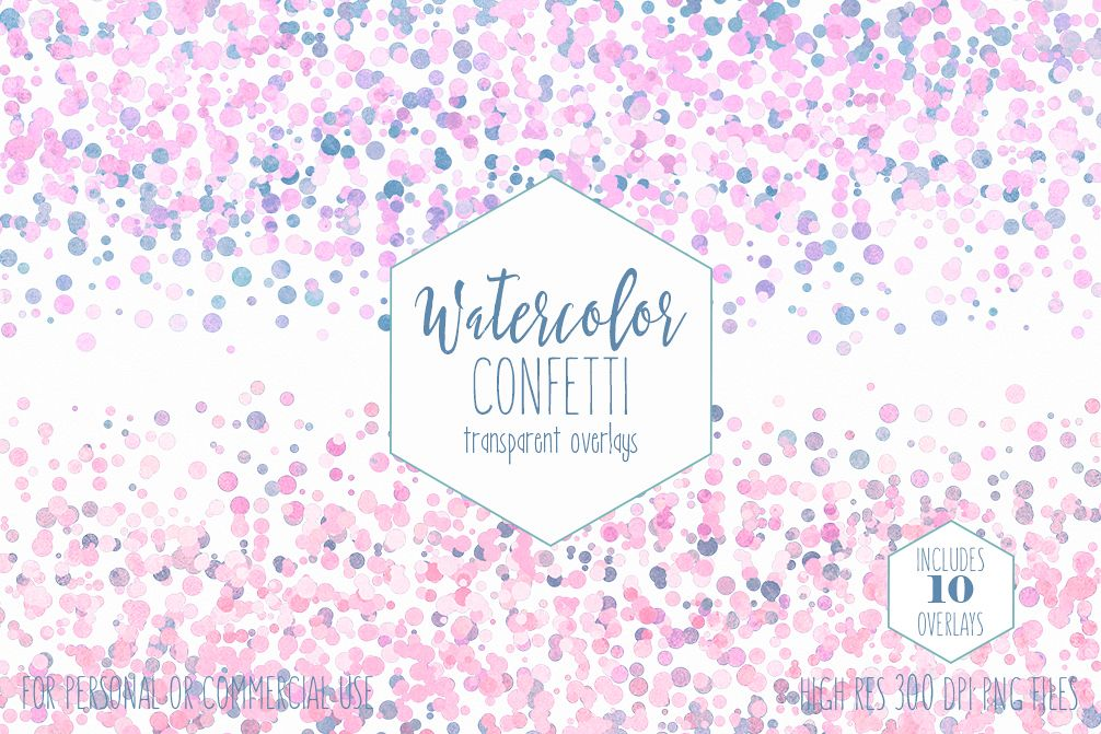 Sparkly blue and pink clipart png confetti black and white download WATERCOLOR CONFETTI BORDER Clipart Commercial Use Confetti Transparent  Overlays Blush Pink Blue Party Wedding Invitation Graphics black and white download