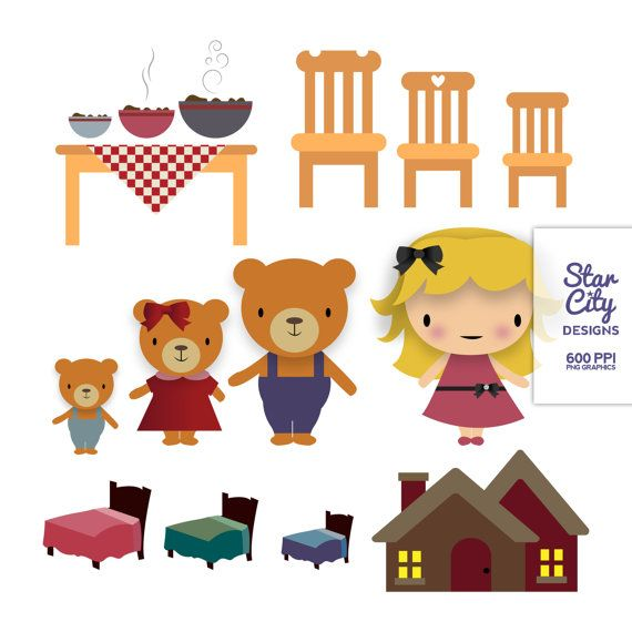 Sparsely clipart clip black and white stock Goldilocks and the three bears Clip Art- Clipart, Vector Art ... clip black and white stock