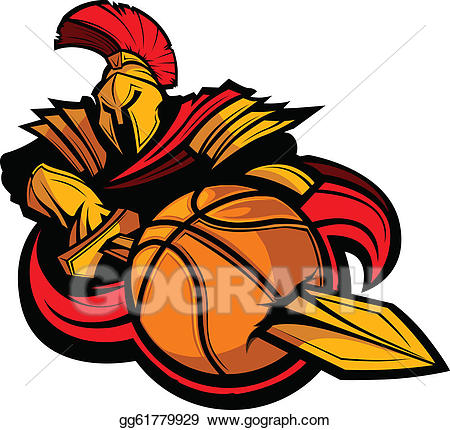 Spartans basketball clipart svg freeuse library Vector Clipart - Spartan basketball mascot body with sword ... svg freeuse library