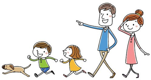 Spaziergang clipart banner library stock Illustration Material: Family Walk premium clipart ... banner library stock