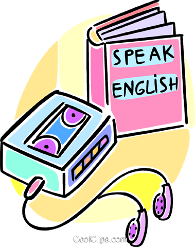 Speak english clipart png royalty free stock learning to speak English using tapes Royalty Free Vector ... png royalty free stock