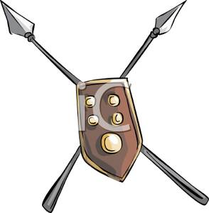Spear and shield clipart