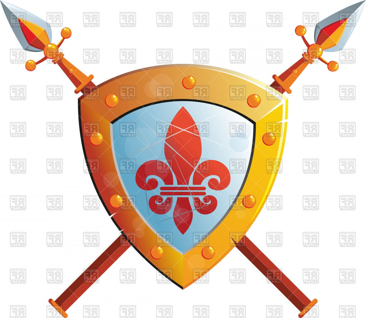 Spear and shield clipart clip transparent Beautiful Knight Shield With Two Crossed Spears Vector ... clip transparent