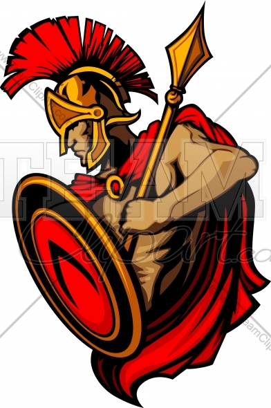 Spear and shield clipart vector royalty free download Greek Spartan or Trojan Vector Mascot with Spear and Shield ... vector royalty free download