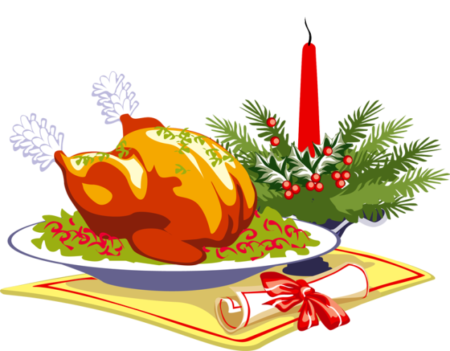 Thankgiving turkey meal clipart banner black and white Stewart Foundation Christmas Dinner — SCPRA banner black and white