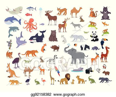 Species clipart image royalty free library Vector Clipart - Big set of world animal species cartoon ... image royalty free library