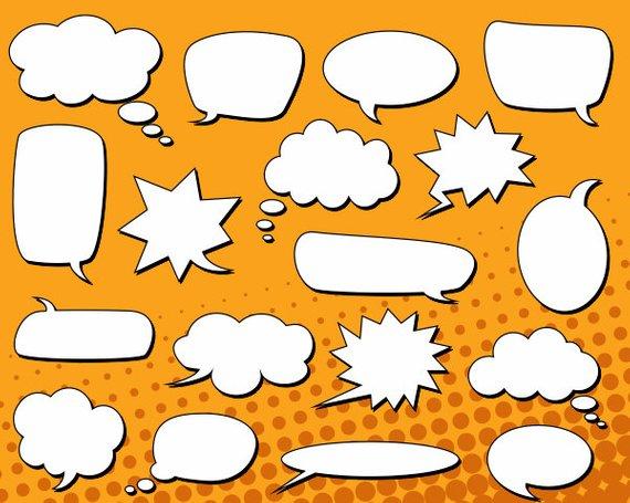 Speech bubble book clipart vector stock Comic Book Speech Bubbles Clip Art, Text Bubbles Clipart ... vector stock