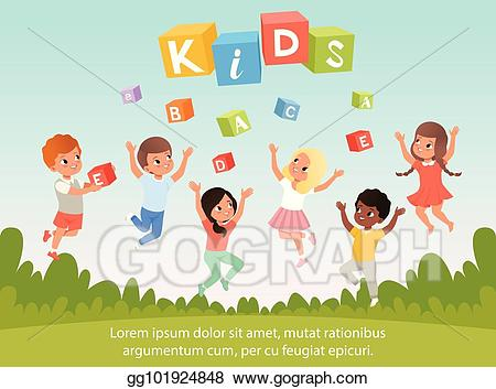 Speech therapy with kids clipart vector royalty free stock Vector Clipart - Group of kids with happy faces. abc cubes ... vector royalty free stock
